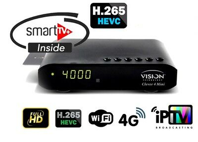 Vision Clever 4 Mini + Abonnements Smart IPTV [H265] & Satellite et VOD 12 Mois