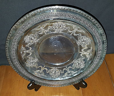Vintage International Silver Co Round Serving Tray 4281 Fancy Scrollwork