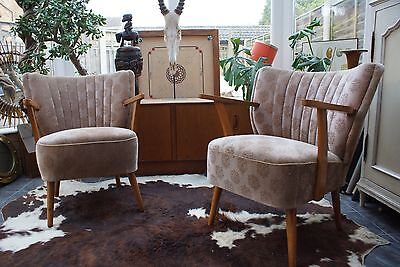 Pair Of Mid Century Vintage East German Cocktail Armchairs / Chairs 1975 A17-11