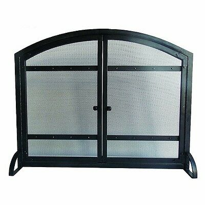 Fireplace Screen Family Home Office Den Two Steel Panel Vintage Mesh Antique