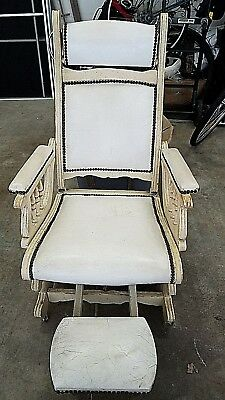 ANTIQUE VERY RARE 1700-1800 WOODEN UPHOLSTERED HOTEL BARBER or DENTIST CHAIR
