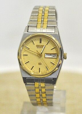 Seiko Sq Women's Two Tone Stainless Steel Wrist Watch With Gold Dial 2A23-002L