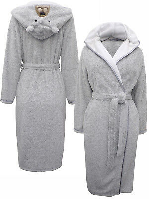 Ladies Marks Spencer Grey Mix Fleece Tatty Teddy Dressing Gown