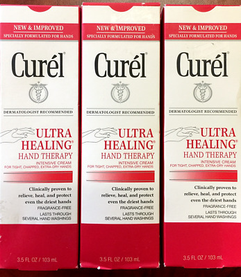 Lot of 3 Curel Ultra Healing Hand Theraphy Intensive Cream 3.5 FL OZ