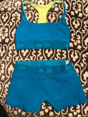 jo jax dancewear Electric Turquoise Sports Bra And Shorts Set Small Adult (2-4)