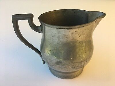 """Antique/Vintage Trade Continental Mark Solid Pewter Water Milk Pitcher 831 6.5"""""""