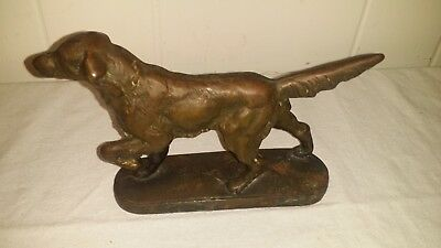 Antique Cast Iron Pointer English Setter Hunting Dog Doorstop Bookend