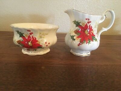 Royal Albert Poinsettia Open Sugar Bowl and Creamer Set with Gold Trim - England