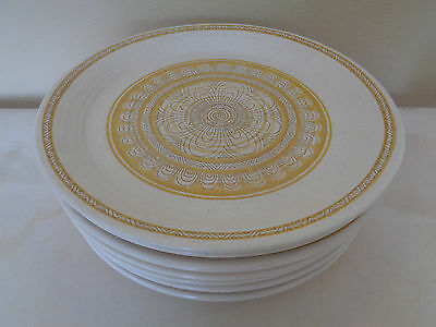 Franciscan USA HACIENDA Set of 7 Dinner Plates Yellow Gold 10 3/4