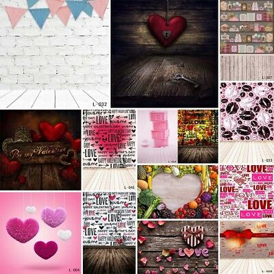 US 5x7ft Valentine's Day Photo Backdrop Love Heart Wedding Engagement Wall Decor