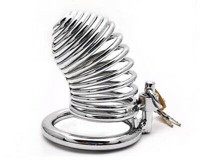 Dungeon Fetish Male Men's Cuckold Penis Lockdown Steel Bird Cage Chastity Device