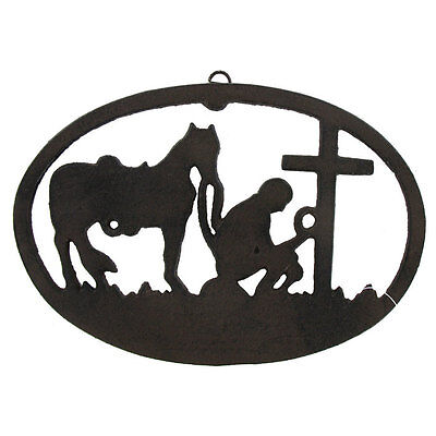 Cast Iron Kneeling Cowboy Plaque Gothic Rustic Old World Style