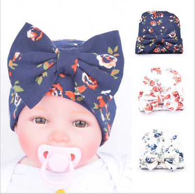 Sweet Newborn Baby Infant Girl Toddler Bowknot Hospital Cap Floral Beanie Hat AU