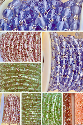 CHOOSE COLOR!! Fine Czech Traditional Crystal Linked Rosary Chain sold by 3 Feet
