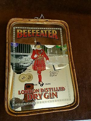 """VTG. MIRRORED"""" BEEFEATER""""LONDON/DRY GIN""""bamboo/reed sides/wood bottom/ADV.TRAY"""