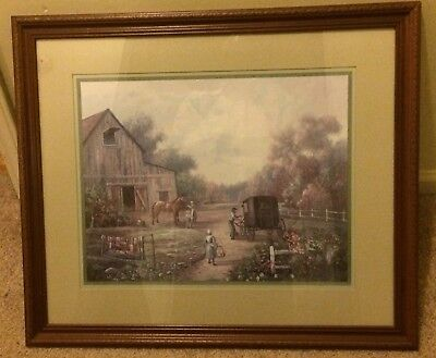 Home Interiors Picture Amish Farm Children Buggy Horse Barn Signed Carl Valent