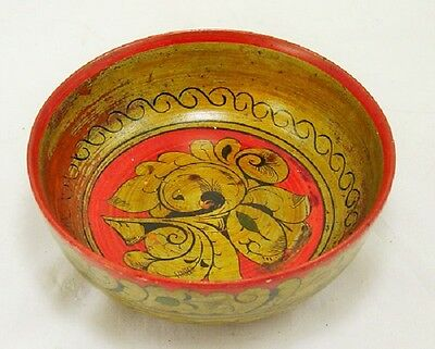 Antique Hand Painted TURNED RED Wood Bowl DECOR COLLECTIBLE GIFT DECORATIVE