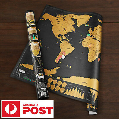 Deluxe Large Scratch Off World Map Personalized Travel Poster Travel free AUPost