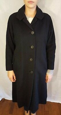 VTG Black Wool Long Five Button Single Breasted Swing Coat USA Made L VGUC