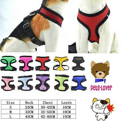 Soft Mesh Fabric Dog Puppy Pet Adjustable Harness Breathable Comfortable w/ Clip