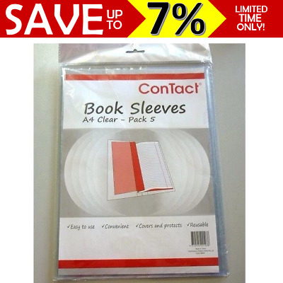 PROMO Contact clear Book covers Slip On A4 pack of 5 reusable school book sleeve