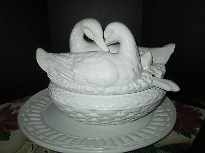 Loving Ducks ceramic tureen with platter and laddle White,  Sale Priced