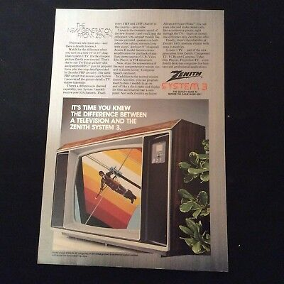 """1982 Zenith Print Ad - System 3 Television - Sy1963W, 19"""" Model Shown"""