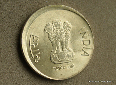 Good Off Centre Misstrike India 5 Rupee 2013 Circulated World Coin  #hqe90