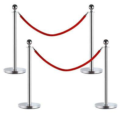 2 Sets Stanchion with Red Velvet Rope Post Crowd Control Queue Pole Barrier US
