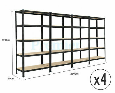 5 Tier Heavy Duty Steel Metal Shelving 4 Bay Racking Industrial Garage Shelf