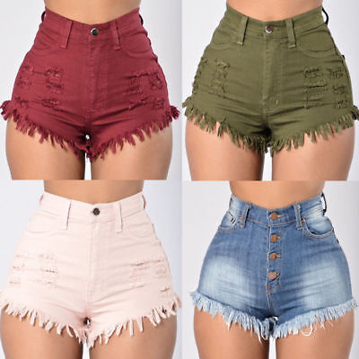 US Women Girls Casual High Waisted Short Mini Jeans Ripped Jeans Shorts Pants