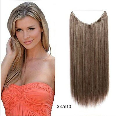 Secret Invisible Fish Wire Hair Extensions Long Straight Hairpiece synthétique