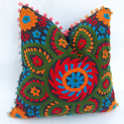 5 PCS Indian Ethnic Floral Cotton Suzani Embroidery Handmade Cushion Covers