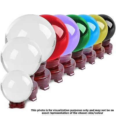 Crystal Ball Meditation Healing Orb Sphere Prism Ball 100mm with Wooden Stand