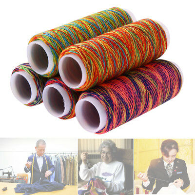 5Pcs Sewing Threads Rainbow Polyster Spools Hand Sewing Embroidery Spool Thread