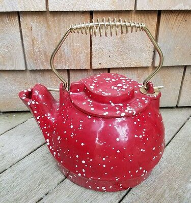 Red white speckled cast iron kettle vintage Plow & Hearth USA