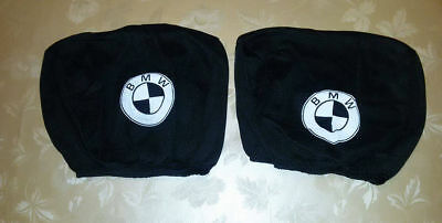 2x BMW black headrest seat cushion protective cover
