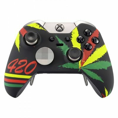 Green Weeds Pattern Repair Front Shell for Xbox One Elite Controller Soft Touch