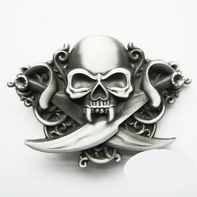 057c817c9a80 Boucle Ceinture Biker Tête de Mort Skull Pirate Sabres belt Buckle moto  leather