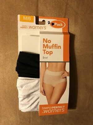 New Warners Simply Perfect No Muffin Top Briefs 3 Count Size M/6