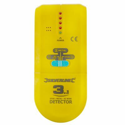 3 in 1 Detector Detects Studs Joists Live Wires Metal Objects Cables Pipes SIL1