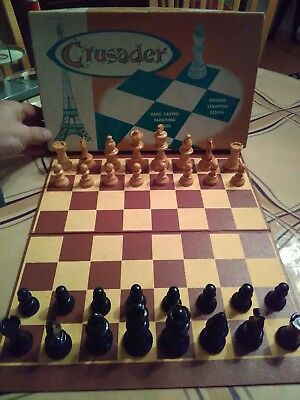 Vintage Crusader Hand Carved French Chess Set