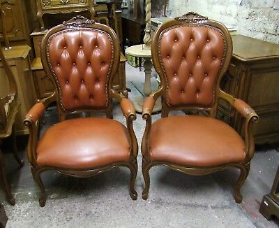 French Louis Xv Style Pair Of Leather Open Armchairs (Cobboc2)
