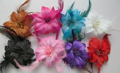 Flower Feather Bead Corsage Hair Clips Fascinator Hairband and Pin Bridesmaids