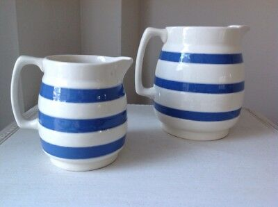 2 Vintage Blue And White Chef Ware Jugs
