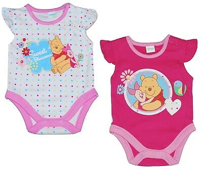 Baby Girl Body Vests Disney Winnie the Pooh 2 PACK Tiny to 3 Months