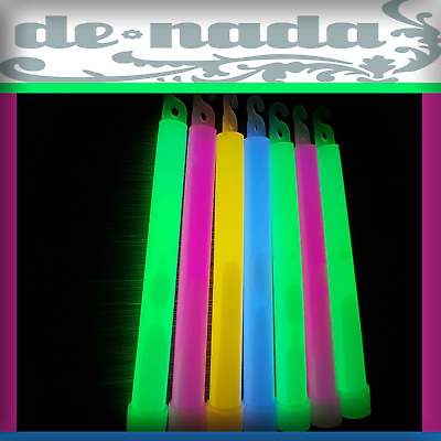 """1/2/5/10/25/50 1.5cm Thick Glow Sticks Mixed Colour 6"""" inch 15mm Party Disco UK"""