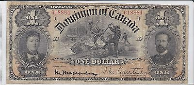 1898 Dominion of  Canada 1 Dollar Note Courtney
