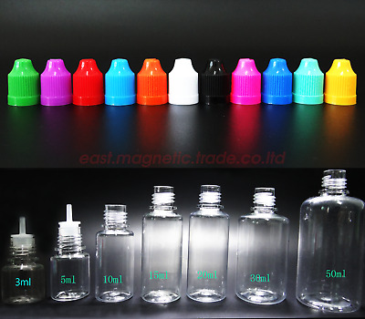 30ML 50ML 10ML Dropper PET Bottles Liquid Needle Tip Cap Childproof Filling Oil