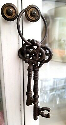 Vintage 2 Cast Iron Skeleton Keys Jailers Rustic Primitive Metal